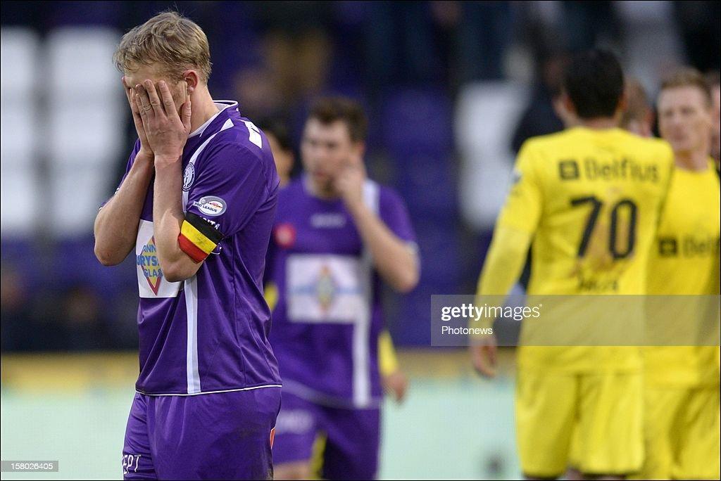 Wim De Decker of Beerschot AC shows dejection during the Jupiler League match between Beerschot AC and Club Brugge on December 09, 2012 in the Kiel Stadium in Antwerpen, Belgium.