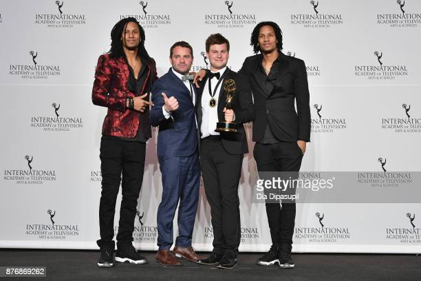 Wim Janssen and Kamiel De Bruyne of Sorry Voor Alles pose with award for nonscripted entertainment and Les Twins at the 45th International Emmy...