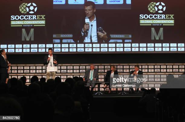 Wim Jonk Cruyff Football CEO talks on stage as he accepts the Duncan Revie award on behalf of Johan Cruyff of the Netherlands during day 1 of the...
