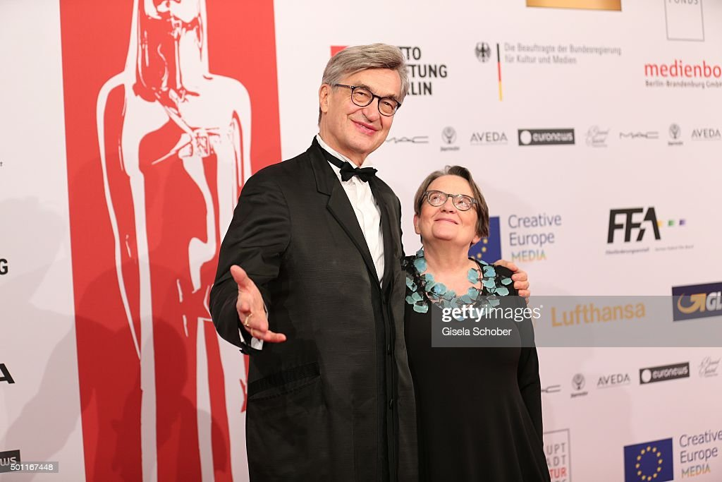 <a gi-track='captionPersonalityLinkClicked' href=/galleries/search?phrase=Wim+Wenders&family=editorial&specificpeople=208675 ng-click='$event.stopPropagation()'>Wim Wenders</a> and <a gi-track='captionPersonalityLinkClicked' href=/galleries/search?phrase=Agnieszka+Holland&family=editorial&specificpeople=615402 ng-click='$event.stopPropagation()'>Agnieszka Holland</a> during the European Film Awards 2015 at Haus Der Berliner Festspiele on December 12, 2015 in Berlin, Germany.