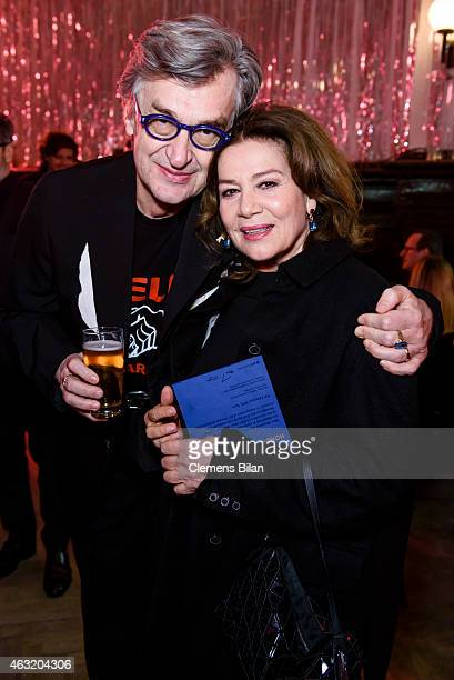 Wim Wenders and Hannelore Elsner attend the Wim Wenders Party during the 65th Berlinale International Film Festival at Claerchens Ballhaus on...
