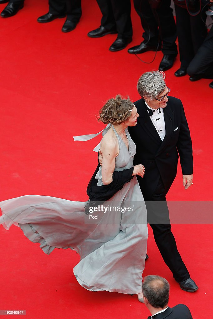 Wim Wenders and wife Donata Wenders attend 'The Search' premiere during the 67th Annual Cannes Film Festival on May 21 2014 in Cannes France