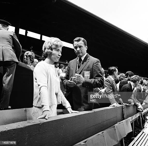 ACTION 'Wimbledon 1965' Pictured Former women's tennis champion Maureen Connolly NBC Sports' Jim Simpson Photo by NBC/NBCU Photo Bank