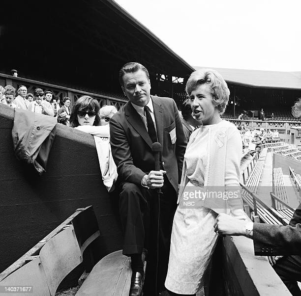 ACTION 'Wimbledon 1965' Pictured NBC Sports' Jim Simpson former women's tennis champion Maureen Connolly Photo by NBC/NBCU Photo Bank