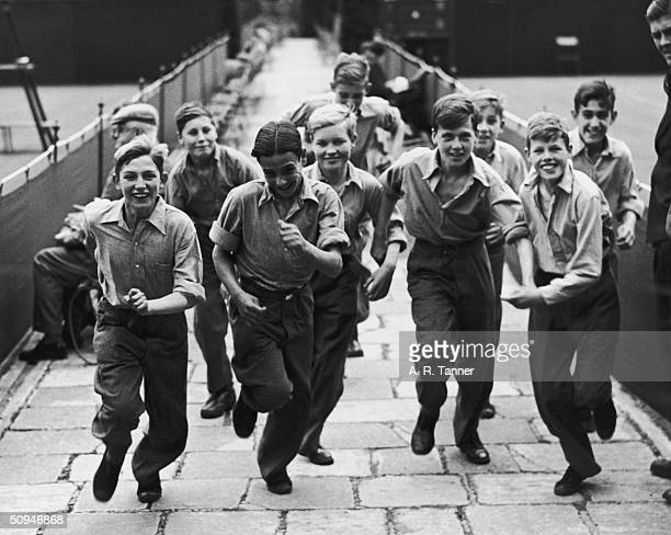 Wimbledon ball boys all from Barnardo's children's homes during their training 1st July 1946