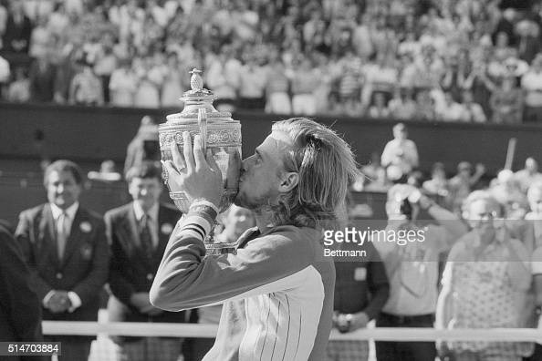 Bjorn Borg of Sweden kisses cup after winning the Men's Singles Final here 7/22 He beat Jimmy Connors USA with score of 3663615764 7/22/1977