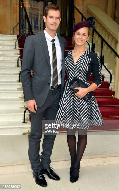 Wimbledon champion Andy Murray and his long time girlfriend Kim Sears arrive at Buckingham Palace on October 17 in London England Murray will become...