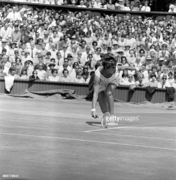Wimbledon Championships Women's Singles Final on the Centre Court Pictured Miss Maria Bueno in play against Billie Jean King 2nd July 1966