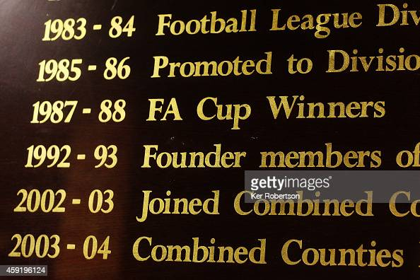 Wimbledon club honours are seen in the stadium reception prior to the FA Cup First Round Replay between AFC Wimbledon and York City at The Cherry Red...