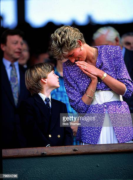 1991 Wimbledon Lawn Tennis Championships HRH Princess Diana of Wales looks lovingly at her son Prince William