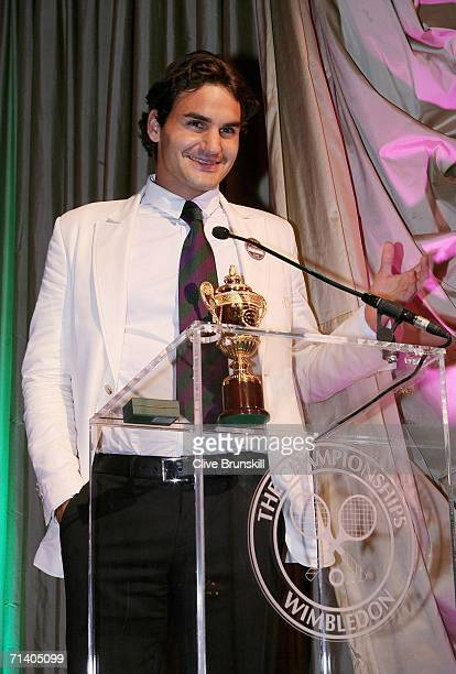 Wimbledon Mens Singles Champion Roger Federer of Switzerland makes a speech at the Wimbledon Winners' Dinner at the Savoy Hotel on July 9 2006 in...