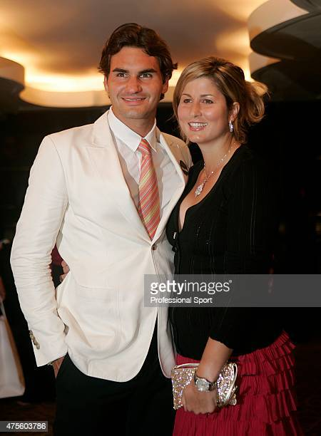 Wimbledon Men's Singles Champion Roger Federer of Switzerland with his girlfriend Mirka Vavrinec at the Wimbledon Champions Dinner at the Savoy Hotel...