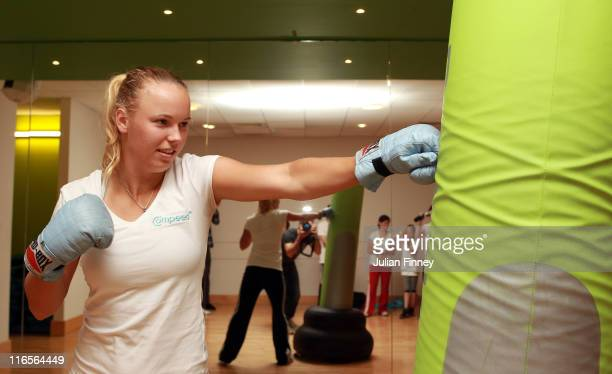 Wimbledon No 1 Seed Caroline Wozniacki of Denmark packs a punch ahead of the season's biggest tournament after a boxercise class organised by...