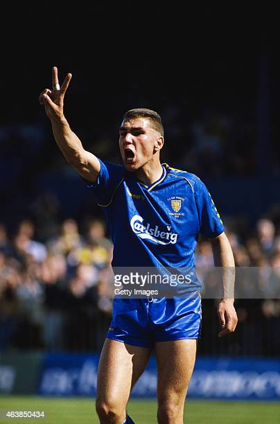 Wimbledon player Vinnie Jones reacts during a First Division match between Wimbledon and Tottenham Hotspur at Plough Lane on April 15 1989 in London...