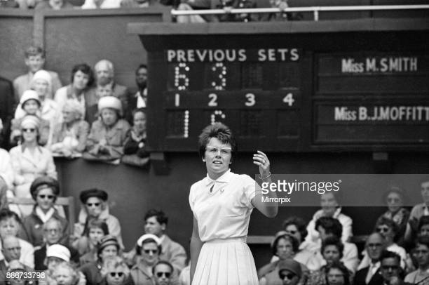 Wimbledon Tennis Billie Jean Moffitt pictured in play against Margaret Smith 26th June 1962