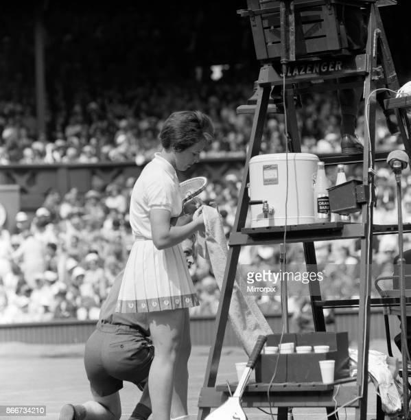 Wimbledon Tennis Ladies day Pictured Billie Jean Moffitt in play against Margaret Smith 26th June 1962