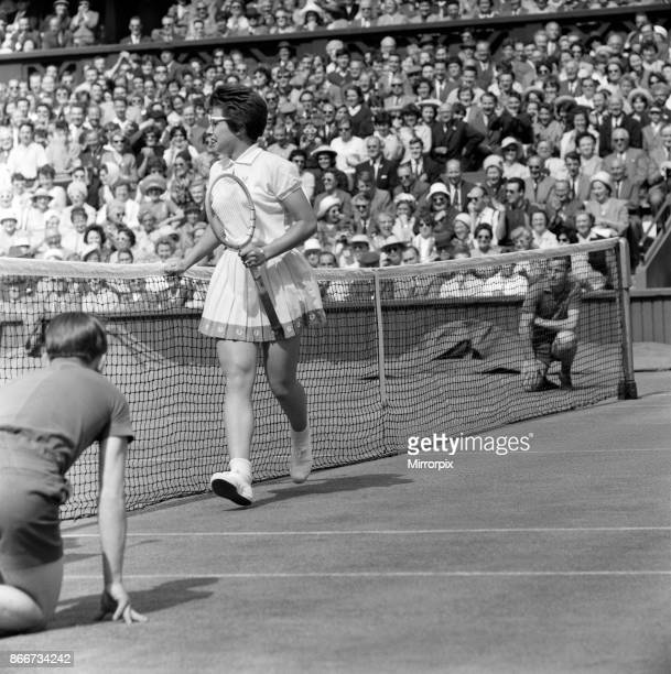 Wimbledon Tennis Ladies day Pictured Billie Jean Moffitt in play against Margaret Smith Billie Jean Moffitt the 'unknown' American who beat the No 1...
