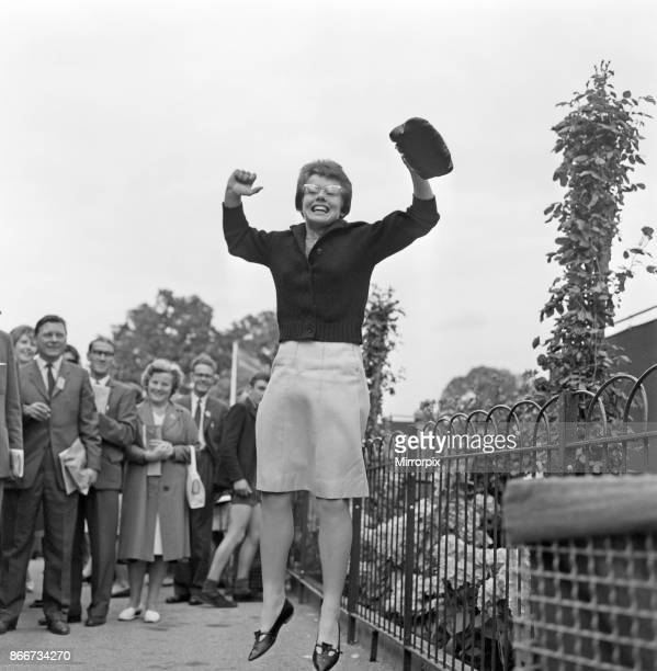 Wimbledon Tennis Ladies day Pictured Billie Jean Moffitt the player who beat Margaret Smith jumps for joy 26th June 1962