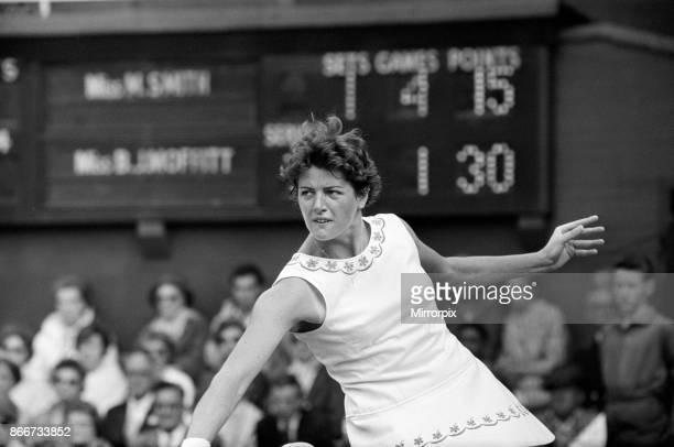 Wimbledon Tennis Margaret Smith in play against Billie Jean Moffitt 26th June 1962