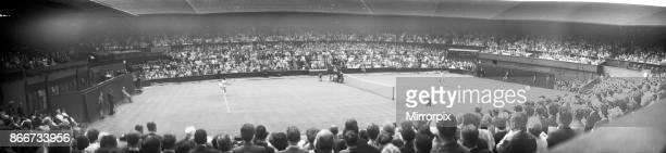 Wimbledon Tennis panoramic views of a match in action 26th June 1962