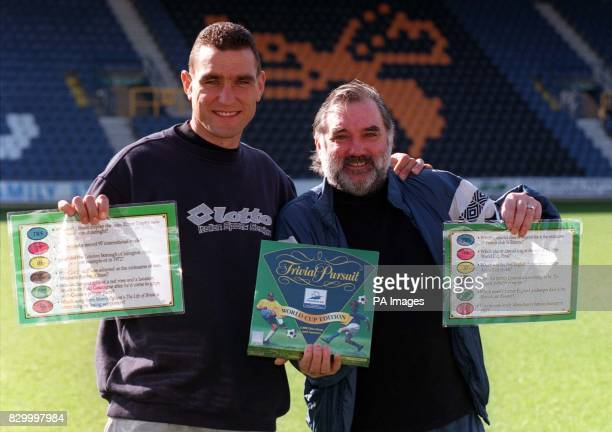 Wimbledon's Vinnie Jones and soccer legend George Best launch the Trivial Pursuit World Cup Edition at QPR's stadium in South Africa Road London...