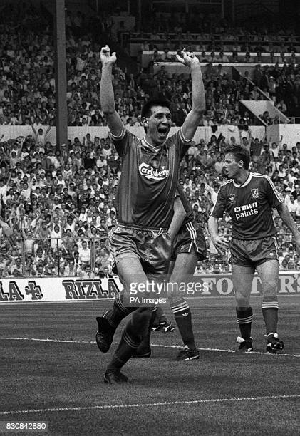 Wimbledon's Wembley hero Lawrie Sanchez signals his 36th minute goal triumph at Wembley It was the only goal of the FA Cup final against...