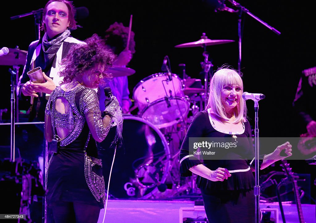 Win Butler and Regine Chassagne of Arcade Fire and Debbie Harry perform onstage during day 3 of the 2014 Coachella Valley Music & Arts Festival at the Empire Polo Club on April 13, 2014 in Indio, California.