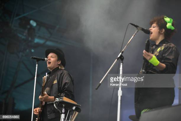Win Butler and Regine Chassagne of Arcade Fire perform at Malahide Castle on June 14 2017 in Dublin Ireland
