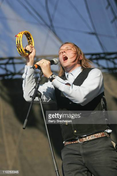 Win Butler of Arcade Fire during Lollapalooza 2005 Day Two at Grant Park in Chicago Illinois United States
