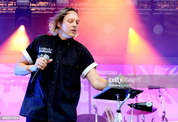Win Butler of Arcade Fire performs at Castlefield Bowl on July 6 2017 in Manchester England