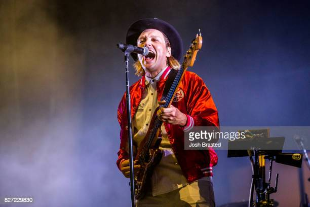 Win Butler of Arcade Fire performs at Lollapalooza 2017 at Grant Park on August 6 2017 in Chicago Illinois