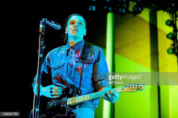 Win Butler of Arcade Fire performs at the Mann Center for Performing Arts on August 2 2010 in Philadelphia Pennsylvania