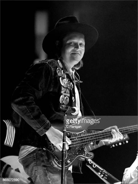 Win Butler of Arcade Fire performs during the ÔInfinite ContentÕ tour at ORACLE Arena on October 21 2017 in Oakland California