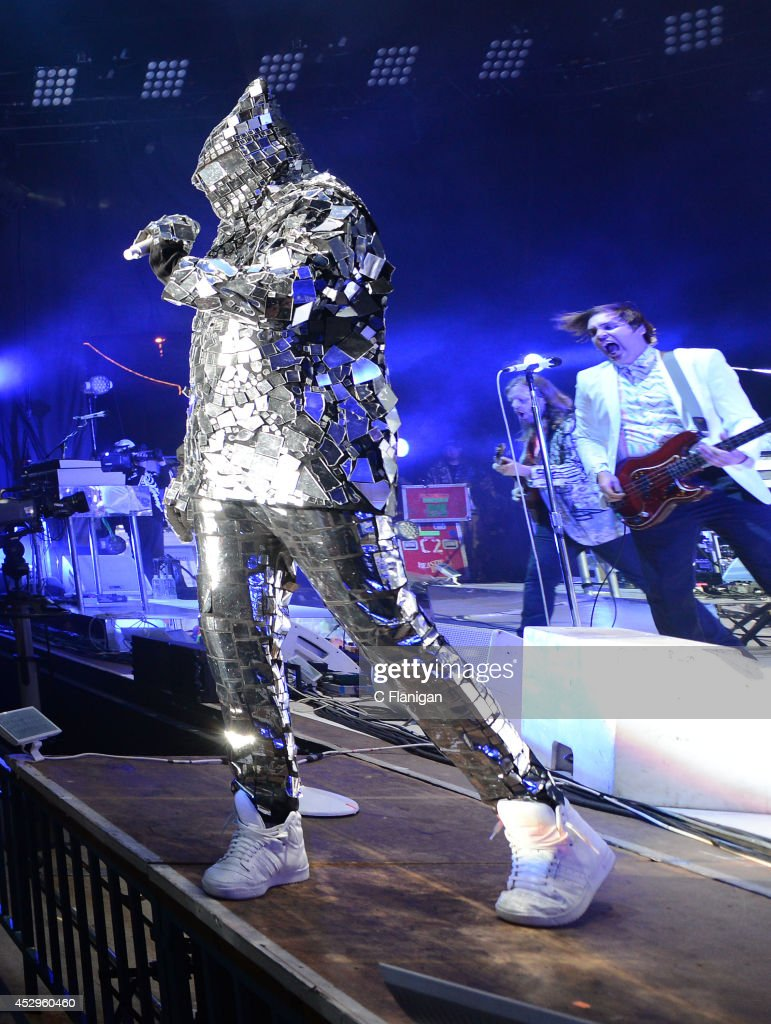 Win Butler of Arcade Fire performs during the North American return of their Reflektor Tour at Shoreline Amphitheatre on July 30, 2014 in Mountain View, California.