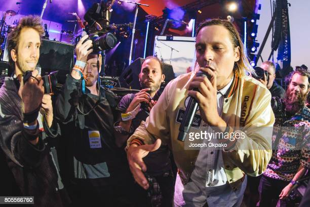 Win Butler of Arcade Fire performs on stage at Roskilde Festival on July 1 2017 in Roskilde Denmark
