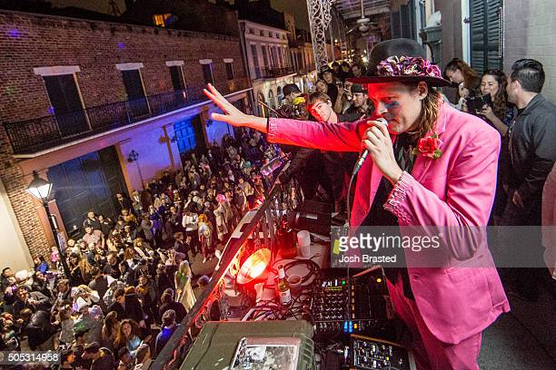Win Butler of Arcade Fire performs on the balcony of One Eyed Jacks following a second line honoring David Bowie on January 16 2016 in New Orleans...