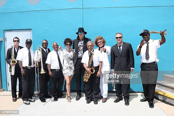 Win Butler Regine Chassagne and Preservation Hall Jazz Band pose at the 2015 Hangout Music Festival on May 15 2015 in Gulf Shores Alabama