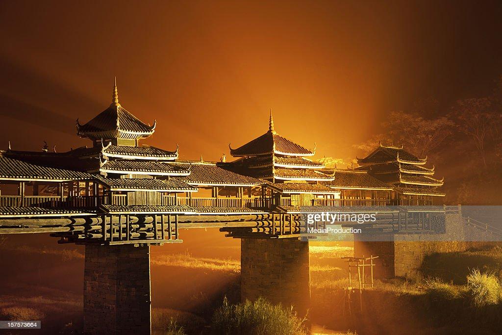 Wind and rain bridge of Cheng Yang in Sanjiang : Stock Photo