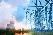 Wind farm and nuclear power plant