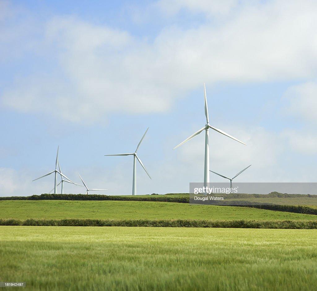 Wind farm in countryside.