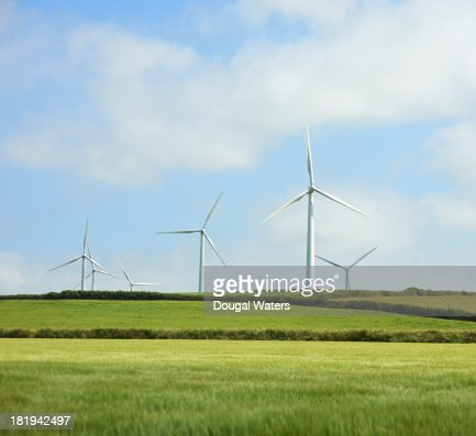 Wind farm in countryside.