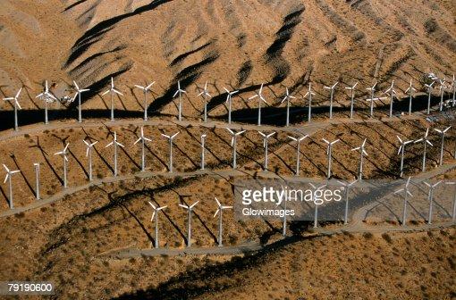 Wind farm turbines, Whitewater, California  : Foto de stock