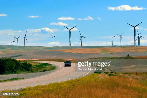 Wind farms turbines near US Route 2, Montana : Stock Photo