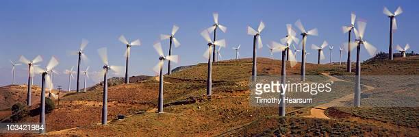 Wind generators on hillside
