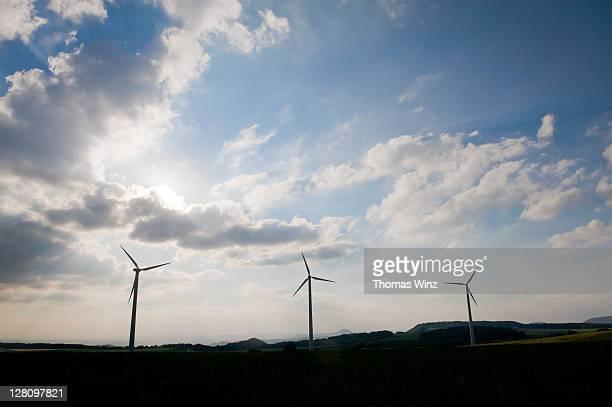 Wind generators, Schwabische Alb, Baden Wuerttemberg, Germany