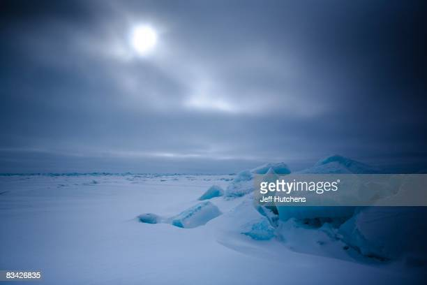 Wind howls across the landscape north of the Arctic Circle across the Alaskan tundra on May 1 2007 in Kaktovik Alaska