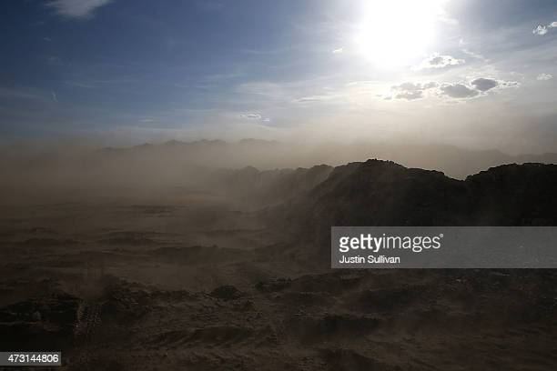 Wind kicks up dust along Boulder Beach at Lake Mead on May 12 2015 in Lake Mead National Recreation Area Nevada As severe drought grips parts of the...