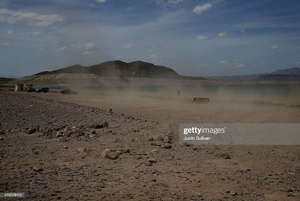 Wind kicks up dust along the shores of Lake Mead at Boulder Beach on May 13 2015 in Lake Mead National Recreation Area Nevada As severe drought grips...