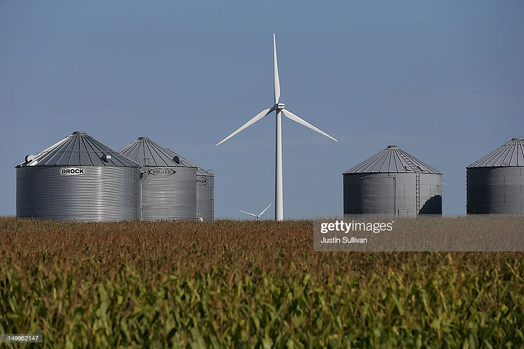Wind mills are seen in a corn field on August 7 2012 near Colo Iowa An exceptionally hot summer and the worst drought in more than a half century has...