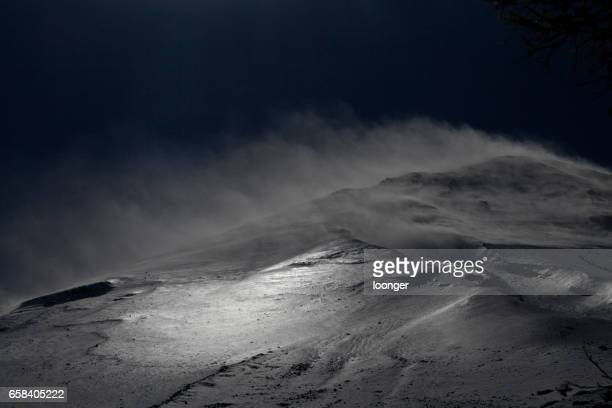Wind on Mount Fuji with the snow dust